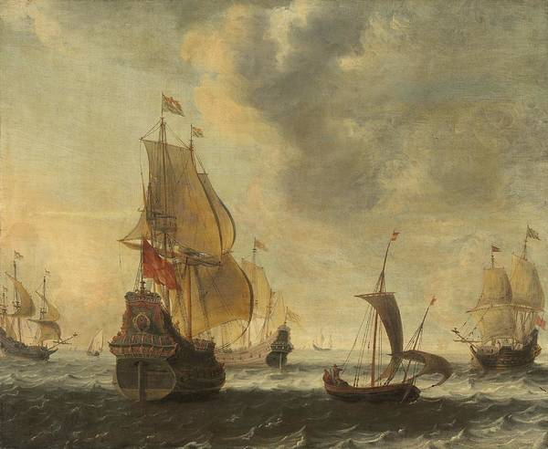 Wall Art - Painting - Dutch Ships In A Lively Breeze by Circle Of Jacob Adriaensz Bellevois