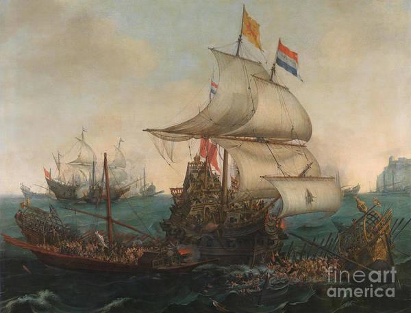 Wall Art - Painting - Dutch Ships Ramming Spanish Galleys Of The English Coast by Hendrick Cornelisz Vroom