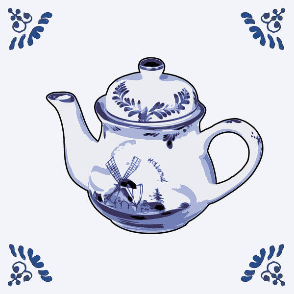 Wooden Shoe Digital Art - Dutch Teapot by Dutch Souvenirs