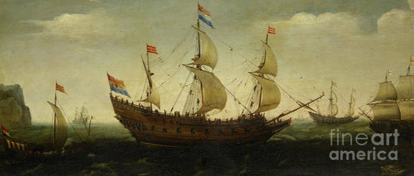 Set Sail Painting - Dutch Three Masted And Other Ships Offshore  by Hendrick Cornelisz Vroom