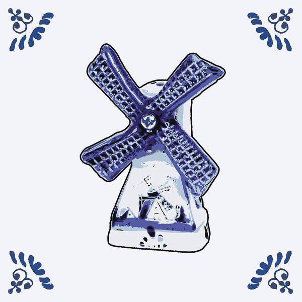Wooden Shoe Digital Art - Dutch Windmill by Dutch Souvenirs