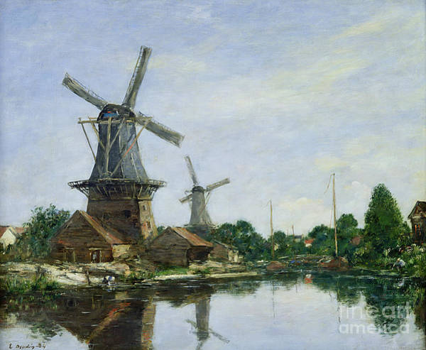 Windmill Painting - Dutch Windmills by Eugene Louis Boudin