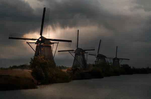 Historic Wall Art - Photograph - Dutch Windmills In Kinderdjik by Jaroslaw Blaminsky