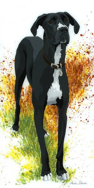 Black Great Dane Painting - Dutchess by Amber Dawn