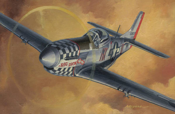 Wall Art - Painting - Duxford Mustang by Wade Meyers