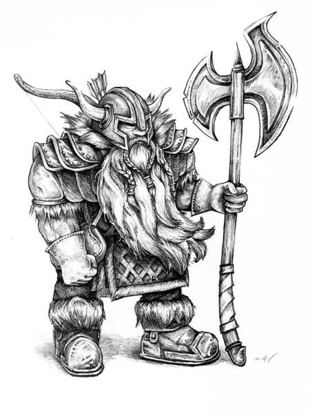 Mage Wall Art - Drawing - Dwarf by Aaron Spong