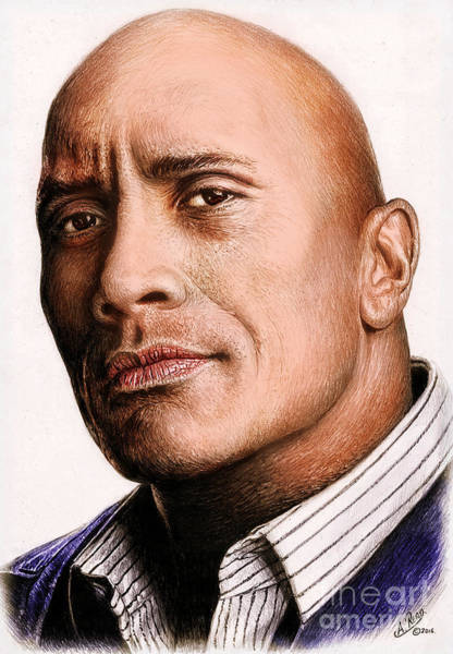 Bodybuilder Painting - Dwayne Johnson Color by Andrew Read