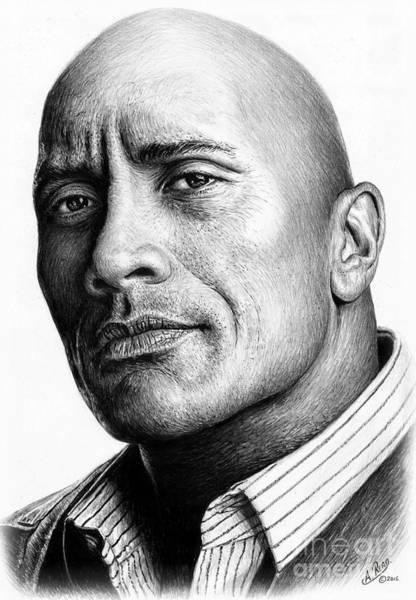 Dwayne Johnson Wall Art - Drawing - Dwayne The Rock Johnson by Andrew Read
