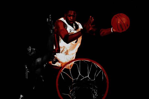 Mavericks Mixed Media - Dwyane Wade Rises Over Dirk by Brian Reaves