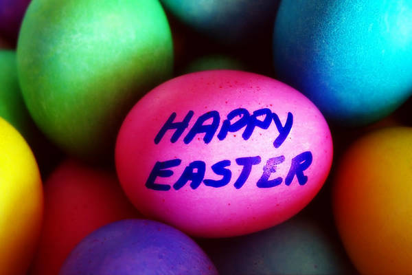 Fun Wall Art - Photograph - Dyed Easter Eggs - Happy Easter Message by Steve Ohlsen