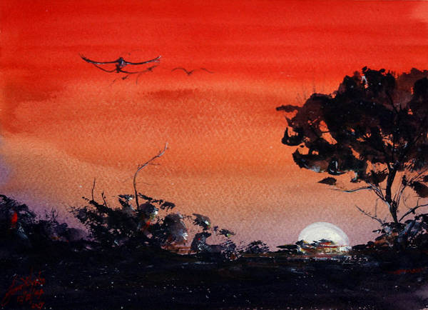 Wall Art - Painting - Dying Sun by James Nyika