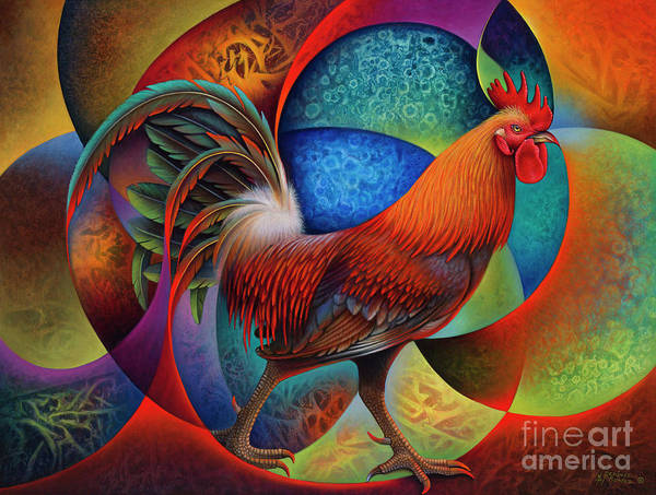 Painting - Dynamic Rooster - 3d by Ricardo Chavez-Mendez