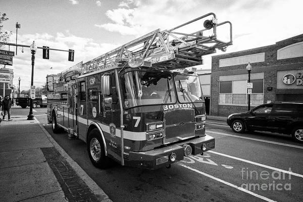 Wall Art - Photograph - e-one Boston fire department ladder 7 fire truck USA by Joe Fox