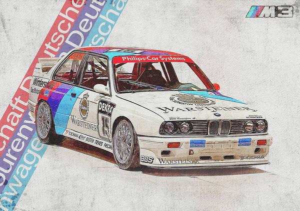 Wall Art - Digital Art - E30 Bmw M3 - Bmw M3 - Bmw - M3 - Bmw Art - Bmw Poster - Bmw Gifts - Bmw Prints - Car Poster - Racing by Yurdaer Bes
