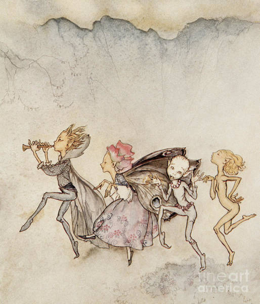 Nymph Drawing - Each One, Tripping On His Toe, Will Be Here With Mop And Mow by Arthur Rackham