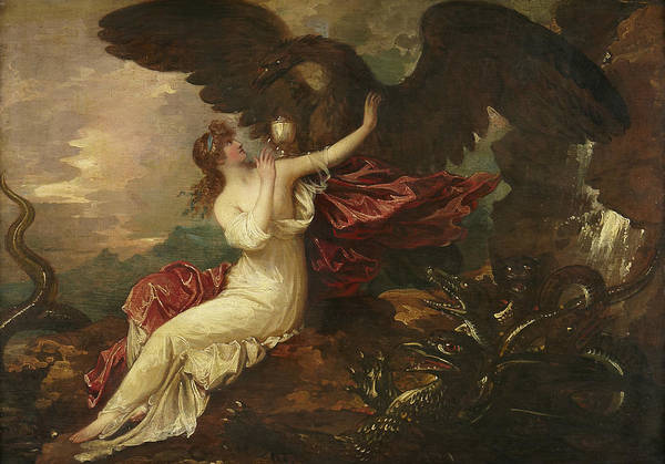 Painting - Eagle Bringing Cup To Psyche by Benjamin West