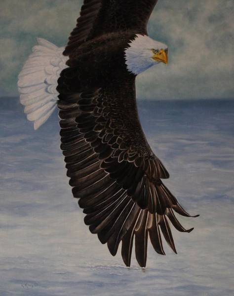 Wall Art - Painting - Eagle - Low Pass Turn by Roena King