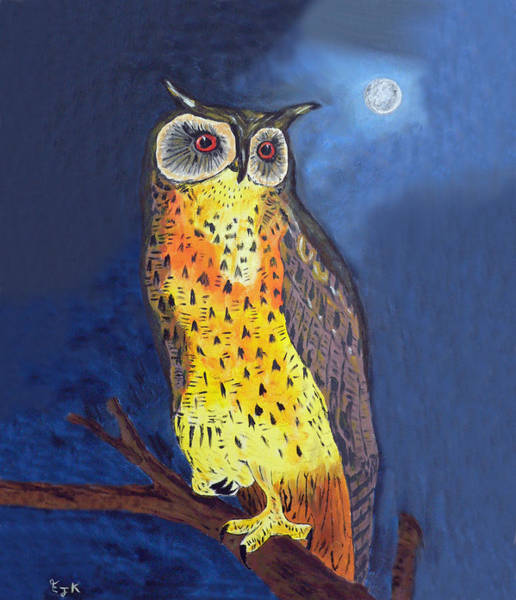 Mixed Media - Eagle Owl Greetings by Eric Kempson