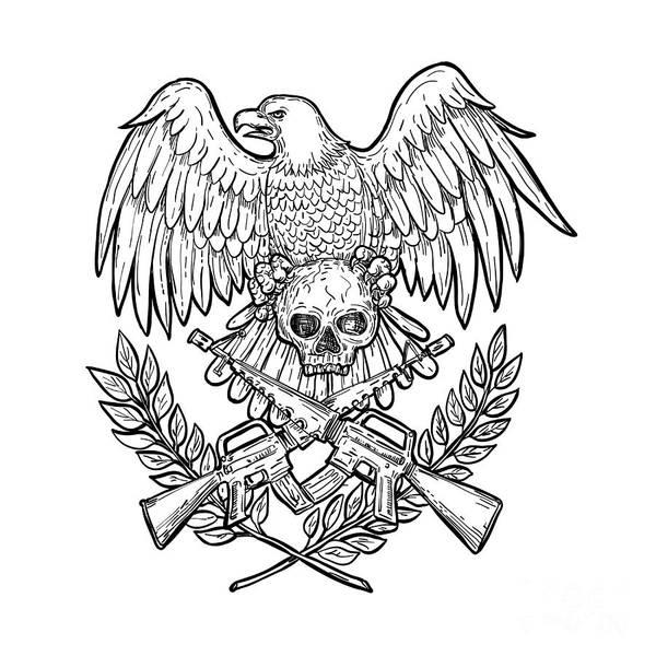 Assault Weapons Digital Art - Eagle Skull Assault Rifle Drawing by Aloysius Patrimonio