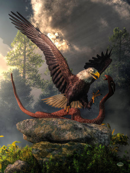 Digital Art - Eagle Vs Cobra by Daniel Eskridge