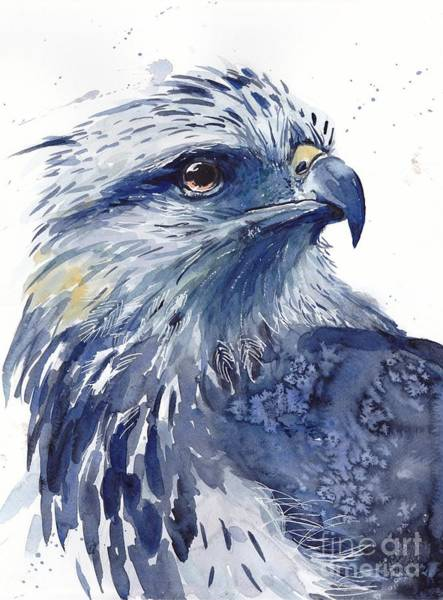 Blue Feather Wall Art - Painting - Eagle Watercolor by Suzann's Art