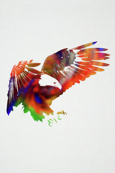 Wall Art - Mixed Media - Eagle Wild Animals Of The World Watercolor Series On White Canvas 006 by Design Turnpike