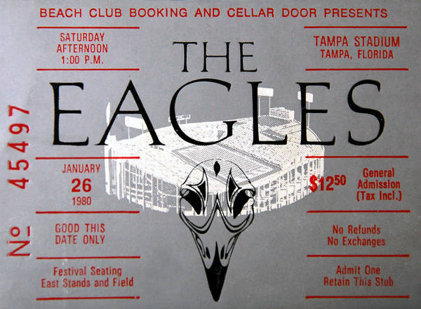 Wall Art - Photograph - Eagles Concert Ticket 1980 by David Lee Thompson