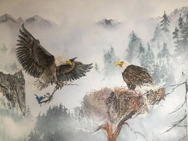 Wall Art - Painting - Eagles Nesting by Wm Garcia