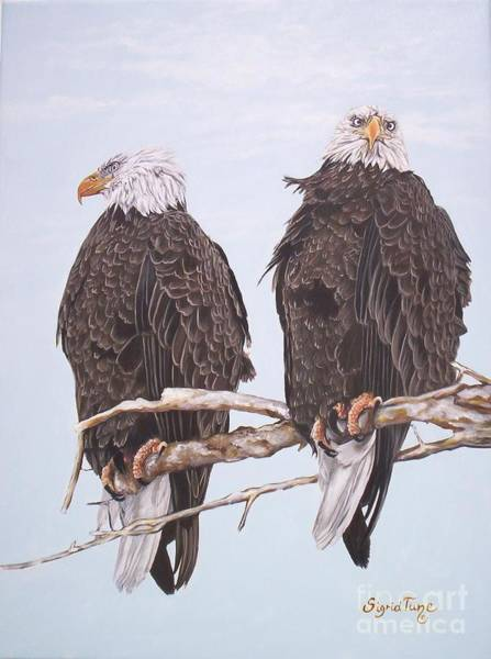 Painting - 2  Eagles Perched by Sigrid Tune