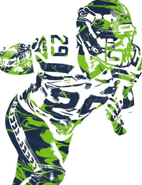 Seattle Seahawks Wall Art - Mixed Media - Earl Thomas Seattle Seahawks Pixel Art by Joe Hamilton