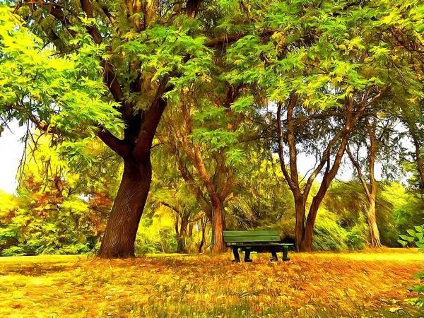 Park Bench Digital Art - Early Autumn Park by Lilia D
