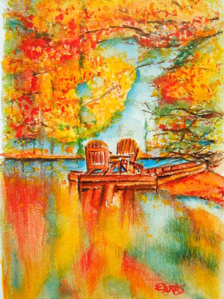 Wall Art - Painting - Early Autumn Reflections by Elaine Duras
