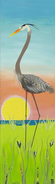 Great Blue Heron Mixed Media - Early Bird  by Jennifer Peck