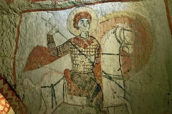 Eastern Anatolia Photograph - Early Christian Mural. Saint George In Rock Carved Saint Basils Church. Goreme National Park, Cappadocia Turkey by David Lyons