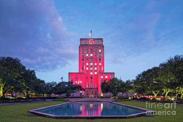 Wall Art - Photograph - Early Dawn Architectural Photograph Of Houston City Hall And Hermann Square - Downtown Houston Texas by Silvio Ligutti