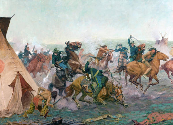 Disappear Wall Art - Painting - Early Dawn Attack by Charles Schreyvogel