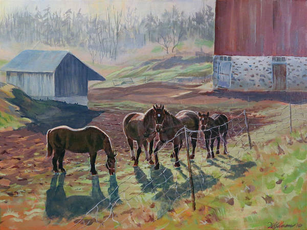 Painting - Early December At The Farm by David Gilmore