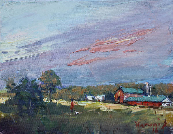 Wall Art - Painting - Early Evening At Phil's Farm by Ylli Haruni