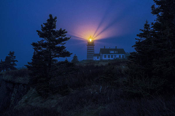 Wall Art - Photograph - Early Evening Fog At West Quoddy Head Lighthouse by Marty Saccone