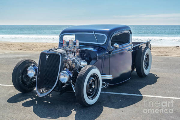 Modified Photograph - Early Ford Pickup At The Beach by Paul Quinn