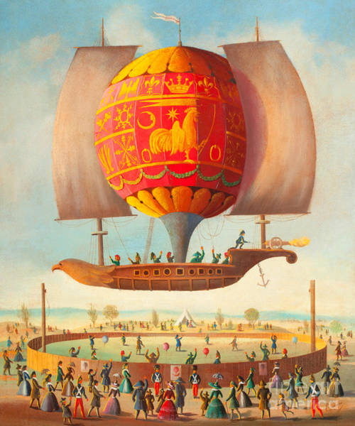 Balloon Festival Digital Art - Early French Hot Air Balloon Airship Celebration Circa 1840 by Peter Ogden Gallery