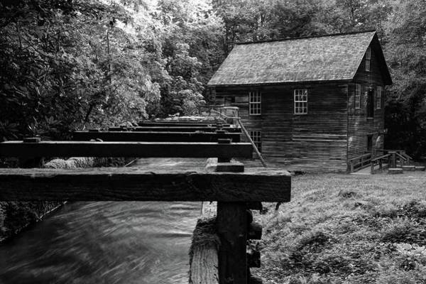 Photograph - Early Morning At Mingus Mill In The Great Smoky Mountain National Park In Black And White by Carol Montoya