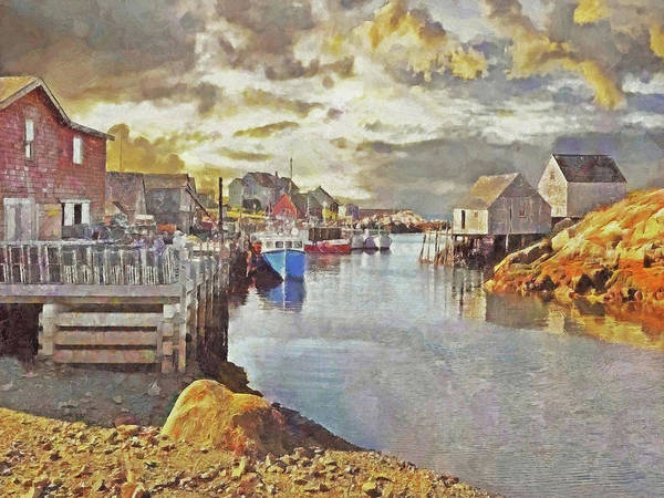 Digital Art - Early Morning At Peggy's Cove In Nova Scotia by Digital Photographic Arts