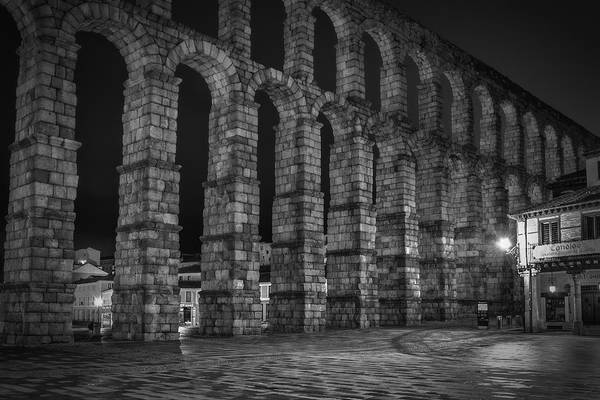 Photograph - Early Morning At The Aqueduct Of Segovia Bw by Joan Carroll