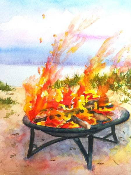 Bonfire Wall Art - Painting - Early Morning Beach Bonfire by Carlin Blahnik CarlinArtWatercolor