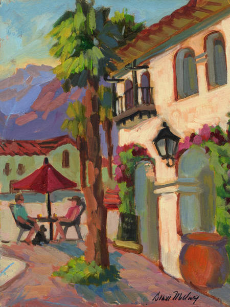 La Quinta Wall Art - Painting - Early Morning Coffee At Old Town La Quinta by Diane McClary