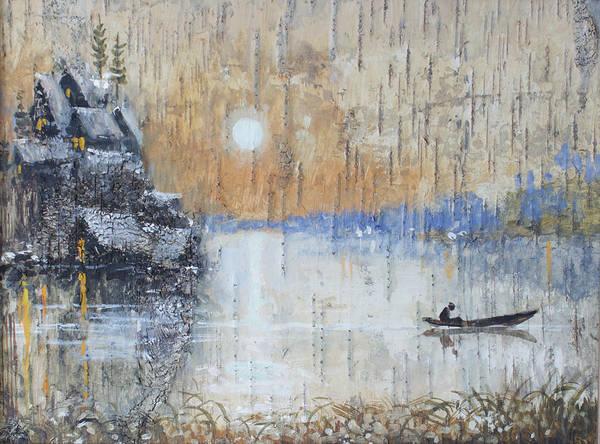 Painting - Early Morning. Fishing On Lake by Ilya Kondrashov