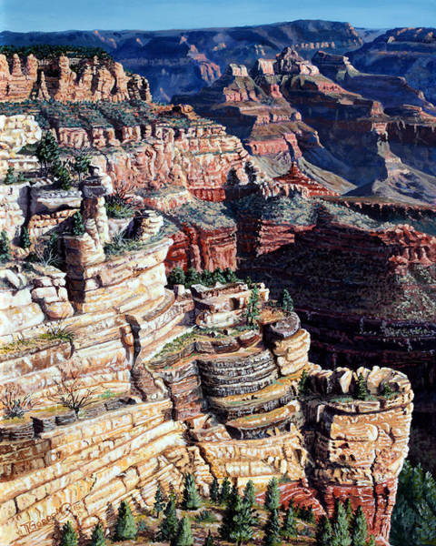 Outcrop Painting - Early Morning From The South Rim by Timithy L Gordon