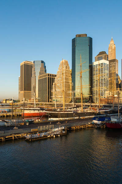 Photograph - Early Morning Harbor - Lower Manhattan Skyline And South Street Seaport Historic Ships by Georgia Mizuleva