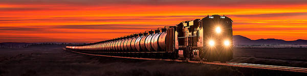 Train Car Photograph - Early Morning Haul Panorama by Todd Klassy